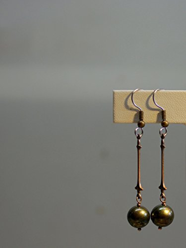 Pearl Pendulum (Pearl Earrings/02 Fleur Olive Drab Pearls & Hand Stamped Bronze Pendulum Connectors - Surgical Steel French Hooks with Copper Wrap)