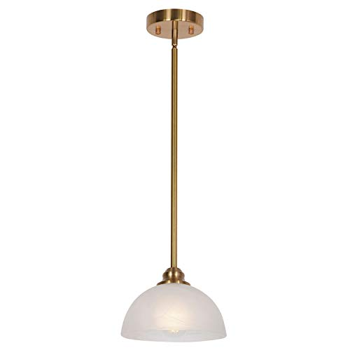 TULUCE Modern One-Light Mini Pendant Lighting with White Alabaster Glass Shades Brushed Brass Ceiling Light Fixture for Living Room Bedroom Dining Room Kitchen Brass Alabaster White Glass