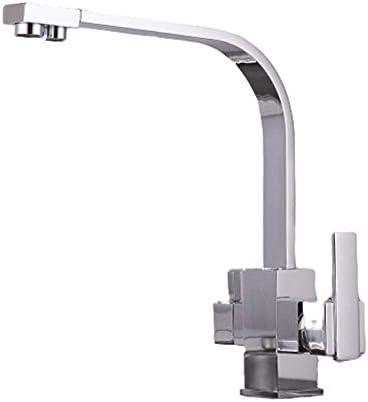 フィルターキッチン水栓デッキマウントミキサータップ360回転水浄化ベージュミキサータップキッチン用キッチン