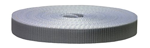 Strapworks Colored Flat Nylon Webbing - Strap for Arts and Crafts, Dog Leashes, Outdoor Activities – 3/4 Inches x 50 Yards, Silver Gray
