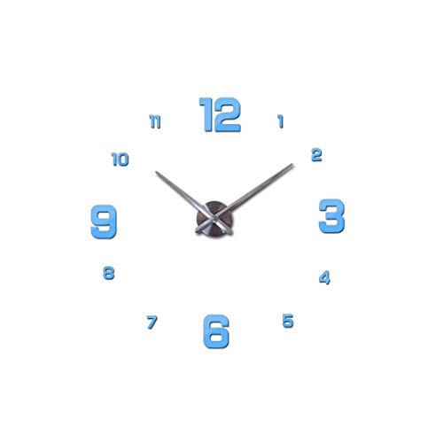 Wall Clock 2019 The Circular Multi-Piece Set Living Room Clocks Mute Big Wall Clock Needle Metal Watch DIY,Sky Blue,47Inch