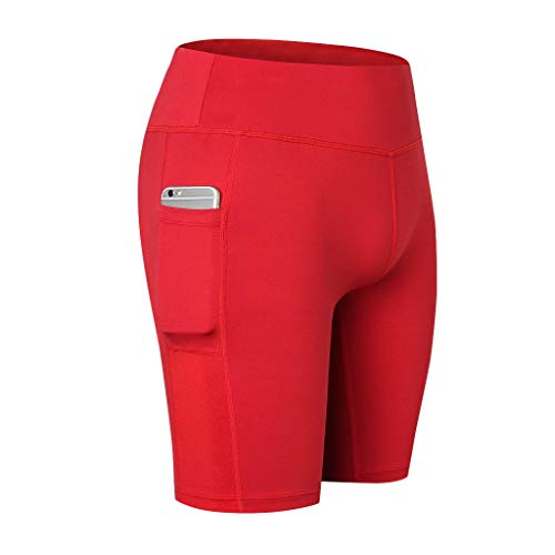 (iNoDoZ Women's High Waist Out Pocket Tummy Control Yoga Short Workout Training Running Athletic Yoga Pants Red)