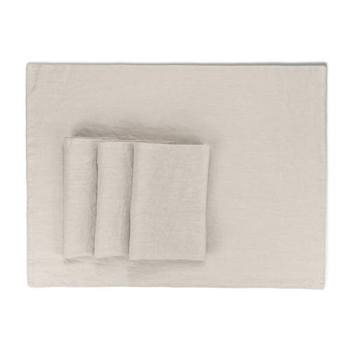 French Linen Placemats - Rustic Farmhouse Style - Stonewashed Pure Linen Cloth Placemats - Large Size 15x20 Inch - Set of 4 (Parchment)