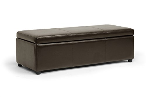 Wholesale Interiors Rectangular Ottoman - Baxton Studio Dennehy Modern Ottoman,Dark Brown