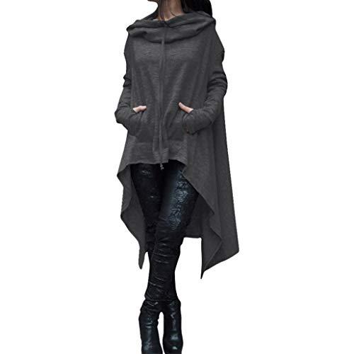 Rambling New Women's Pullover Irregular Hem Long Drawstring Loose Hoodie Top Dress by Rambling