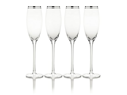 (Mikasa Haley Platinum Champagne Flute, 7-Ounce, Set of 4)