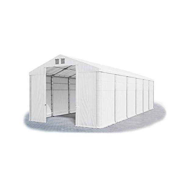 Das Company Tendone Deposito 8x12x4m Tendone Bianco Impermeabile 560g/m² Tenda da stoccaggio Rinforzo dell'Ingresso… 1 spesavip