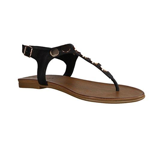 Inuovo 6355 - Chaussures Pour Femmes Compensées / Sling, Noir, Cuir, Abattu: 5 Mm