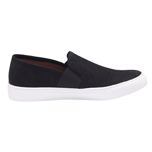 Sofree Kvinna Mode Casual Slip-on Dagdrivare Klassiska Sneakers Svart-vit