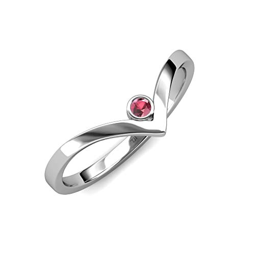 TriJewels Round Rhodolite Garnet Womens Solitaire Bezel Set Chevron Promise Ring 0.12 ct 14K White Gold.size 4.5 ()