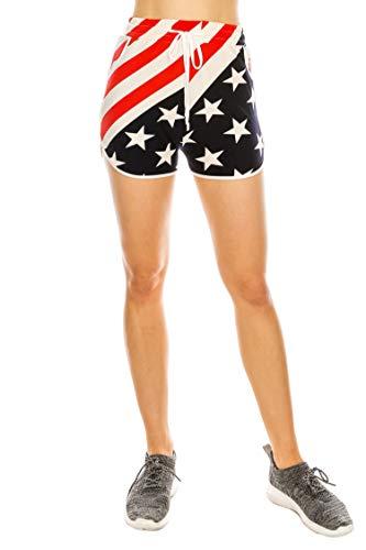 Leggings Mania Women's Regular Size Fitness American Flag Yoga Shorts with Side Pockets RWB ()
