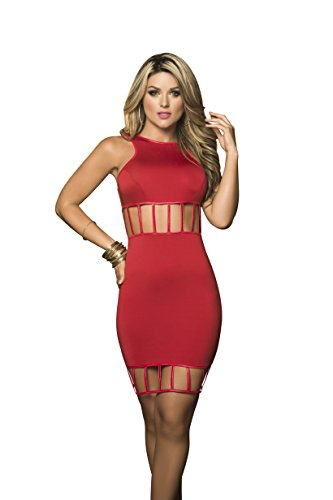 Mapal by Espiral Women's Midriff Baring Cage Style Club Dress