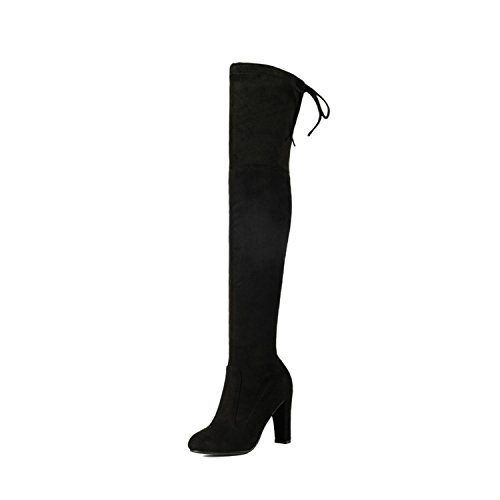Dormery Women Over The Knee Boots Sexy PU Leather Square High Heel Women Shoes Winter Warm Motorcycle Boots Size 34-43 Black - Womens 09 Footwear