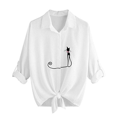 Pullover Bottoni Maniche Camicetta Con Donna Bianca Bottoni Lunghe Plus Cat Stampati Con Donna A Invernale Donna Sweatshirt g4T5qx