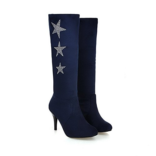 Boots On Pull Frosted Heels Round Blue High Closed Women's High Toe Top AgooLar pgqPxt1wE