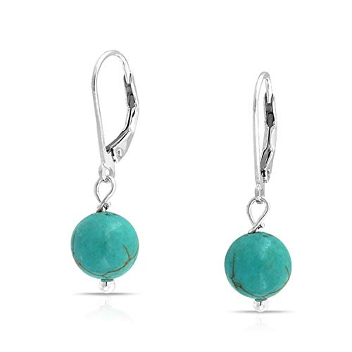 - Simple Round Bead Stabilized Turquoise Leverback Ball Drop Earrings For Women 925 Sterling Silver December Birthstone