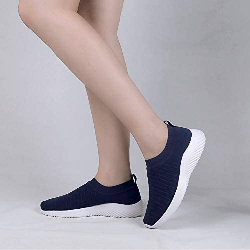 Ablanczoom Womens Walking Shoes Lightweight Elastic Sock Athletic Running Shoes Slip On Mesh Sneakers Comfort Work Shoe