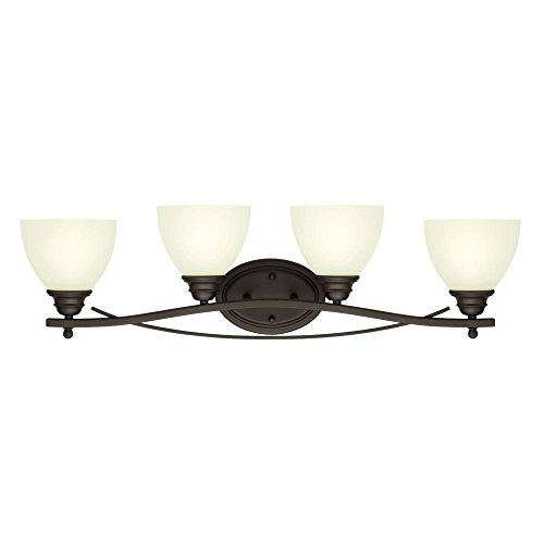 Westinghouse Lighting 6303500 Elvaston Four-Light Indoor Wall Fixture, Oil Rubbed Bronze Finish with Frosted Glass, ()