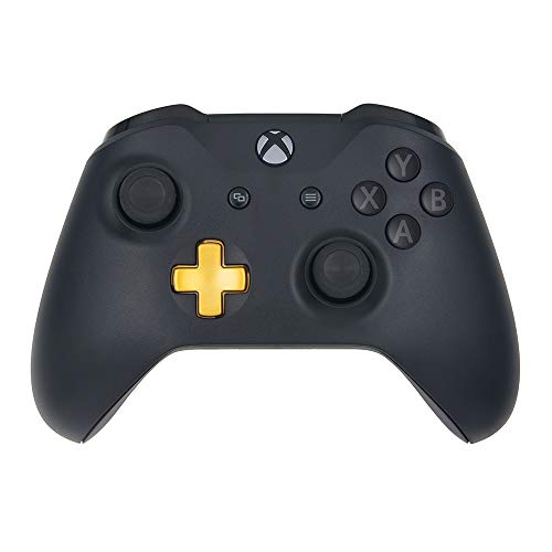 Wireless Controller Compatible Xbox One Console | Black | Custom Gold D-pad | Grey on Black ()