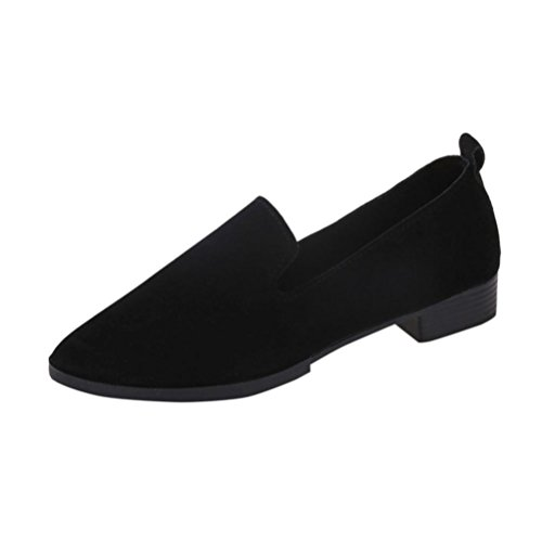 Women Flat Pointed Shoes,Byste Loafer Ladies Casual Scrub Shoes Solid Slip Sandals (38, Black)