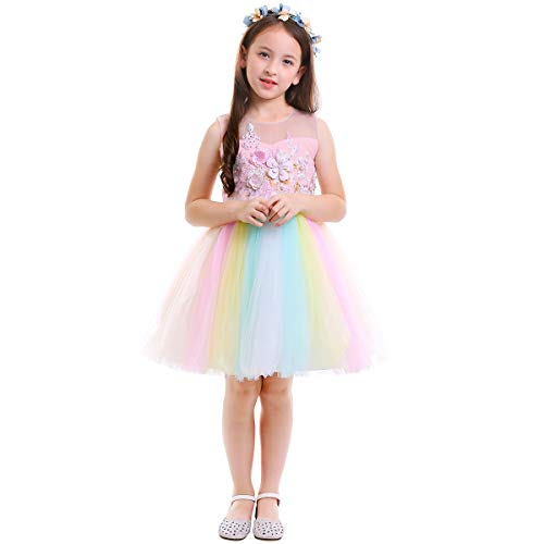 Elegant Unicorn Costume Flower Girl Rainbow Tutu Dress Embroidered Floral Princess Pageant Party Birthday Wedding Short Gown Pink Dress Only 3-6 Months -