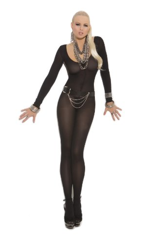 Elegant Moments Women's Opaque Long Sleeve Bodystocking with Open Crotch, Black, One (Black Womens Bodystocking)