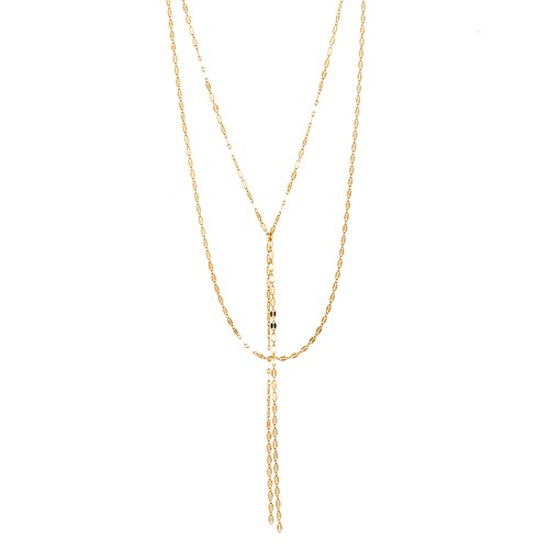 [Women's Sterling Silver Oval Link Tassel Double Layered Drop Necklace (Gold)] (Boys Snowflake Costume Uk)
