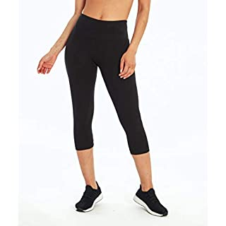 MARIKA Magic Essential Butt Booster Capri Leggings for Women - Slim Fit with Coolmax Gusset - Butt-Lifting - Curve Enhancing Black Large