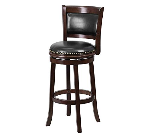 Furniture 29'' High Cappuccino Wood Barstool with Black Leather Swivel Seat Home Bar Pub Café Office Commercial