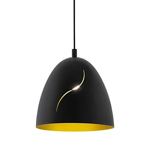 EGLO Hanglamp Hunningham, 1 vlam hanglamp, industrieel, vintage, modern, stalen hanglamp in zwart, goud, eettafellamp…