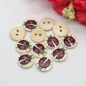 5 or 10 15mm Round Ladybird Buttons with Shank Fastening in Pack of 2