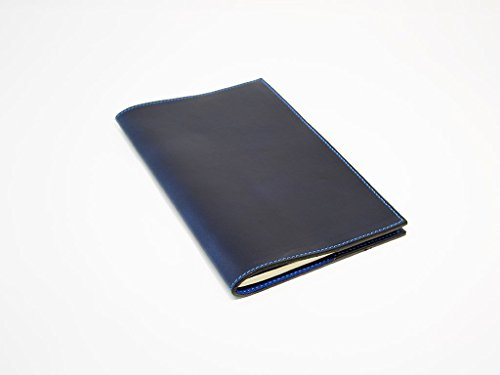 1 Full Refill (Blue Leather Notebook Cover for Moleskine Cahier Journal or Field Notes Full-Grain Horween Leather with Sky Blue Stitching Personalized with Initials or Name One Refill Included)