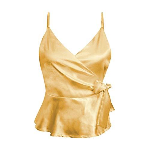 gialla incrociati ideale estivi abiti tinta spiaggia quotidiano da base lacci unita Gilet Suliflor appuntamento casual donna gilet con festa UHcW4w