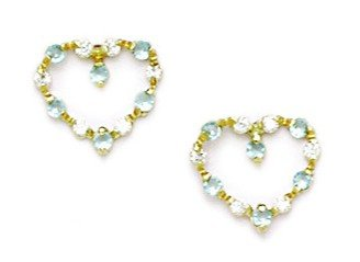 b5fe6ea63 Image Unavailable. Image not available for. Color: 14k Yellow Gold March Lt-Blue  Cubic Zirconia Heart Screw-Back ...