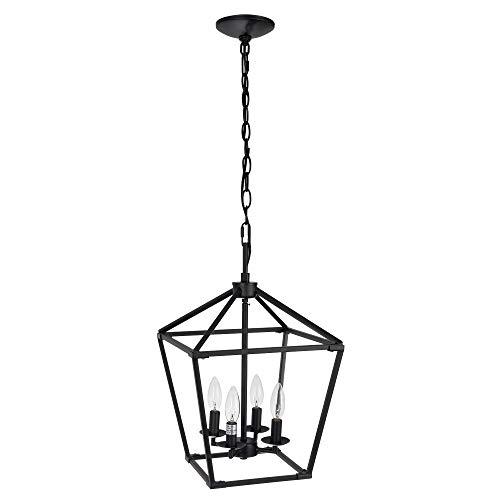 Untrammelife 4-Light Black Lantern Pendant Light, Adjustable Height Square Cage Pendant Hanging Lighting Fixture 11…