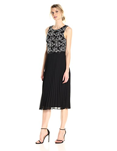 Jessica Howard Women's Sleeveless Dress With Accordian Pleats, Black/Ivory, 10