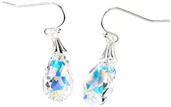 Neoglory Jewelry MADE WITH SWAROVSKI ELEMENTS Crystal AB Teardrop FH Drop Earrings for Sensitive Ears