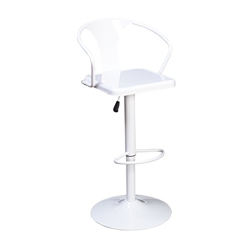Target Marketing Systems Max Industrial Metal Adjustable Swivel Bar Stool with Arms, Gas Lift, and Foot Rest, White (Tall Swivel Stool 34)