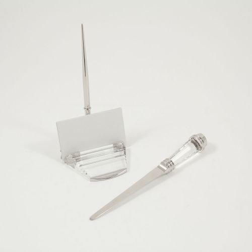 Bey-Berk Crystal and Silver Plated Pen (Silver Plated Pen Stand)