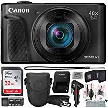 Canon PowerShot SX740 HS Digital Camera (Black) with 32GB Card & Point and Shoot Case Photo Savings Basic Bundle