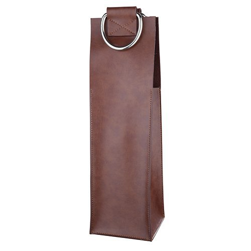 Admiral Brown Wine Tote by Viski - Leather Wine Carrier for Single Bottle Made Leather Single Wine