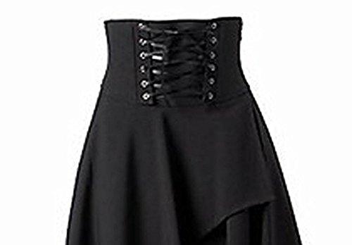 Betti Charm Women's Pure Black Gothic Lolita Band Waist Skirt 5