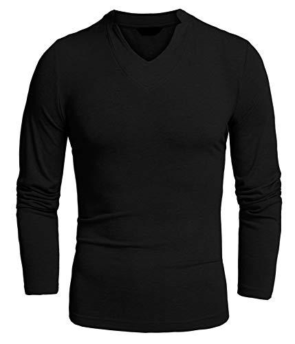 Detailorpin Men's Henley Shirts Slim Fit Long Sleeve V Neck Basic Cotton T Shirt Bomber Long Sleeve T-shirt