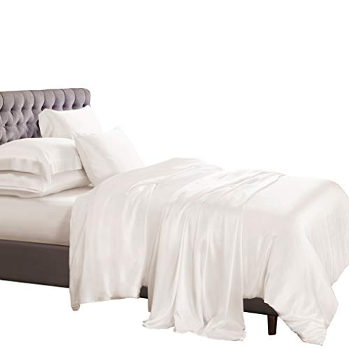 Ivory Silk Quilt - ElleSilk 100% Pure Silk Duvet Cover Set, Silk Quilt Cover Twin Size, Silk Pillow Cases, 22 Momme, 600 Thread Count, Natural Care to Skin, Ivory