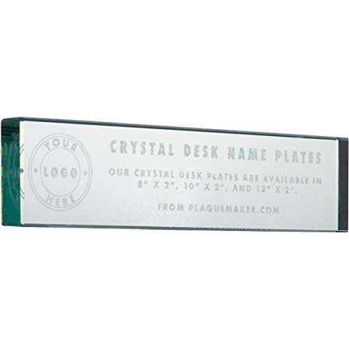 Jade Glass Desk Name Plates | Unique Personalized for Office Desk | Customize with Free Engraving | 10 x 2 inches