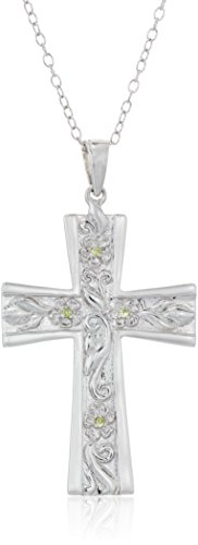 Sterling Silver Peridot Lord's Prayer Star Pendant Necklace,18