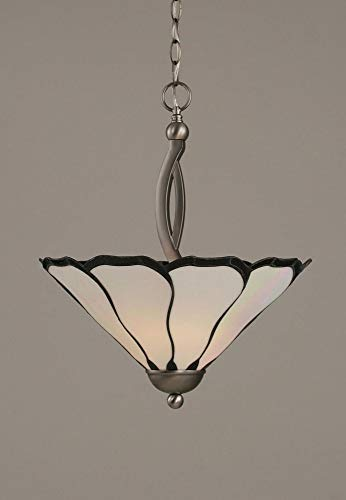 - Toltec Lighting 274-BN-912 Bow Two-Bulb Uplight Pendant Brushed Nickel with Pearl Flair Tiffany Glass, 16-Inch
