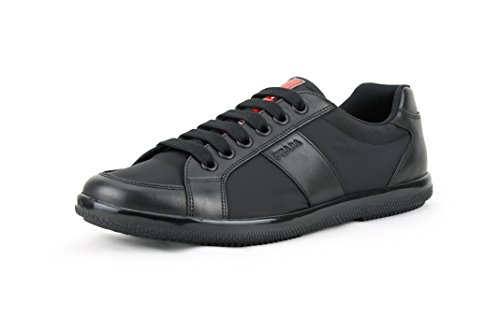 Prada Men's Nylon with Plume Calf Leather Trainer Sneaker, Black (Nero) 4E2845 (10.5 US / 9.5 ()