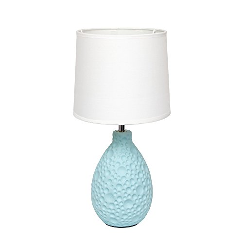 simple designs lt2003blu texturized stucco ceramic oval table lamp blue