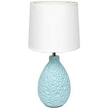 Simple Designs LT2003 BLU Texturized Stucco Ceramic Oval Table Lamp, Blue